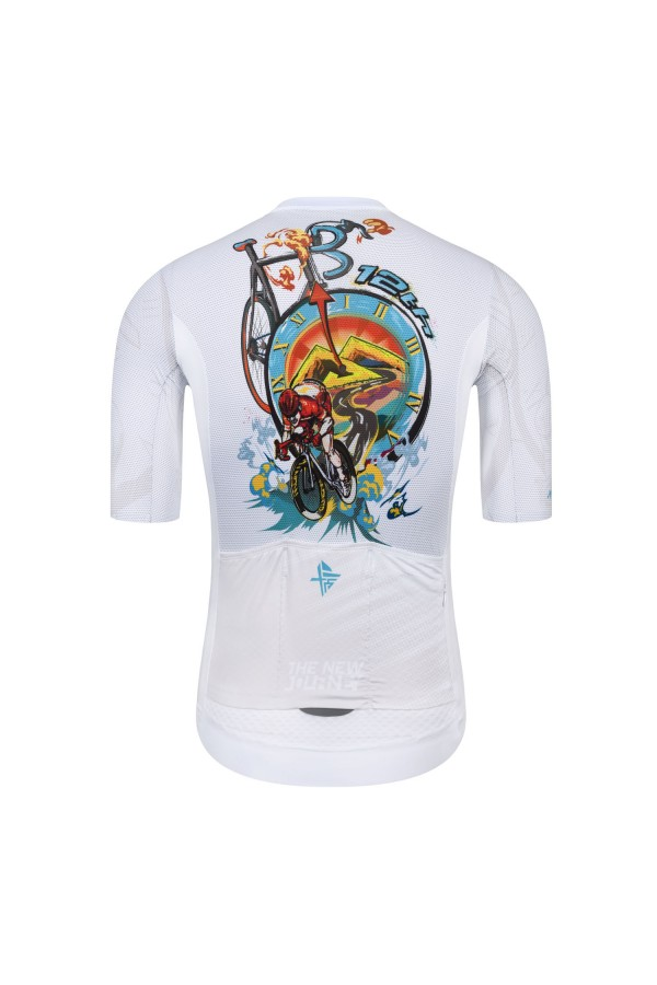 mens white cycling jersey