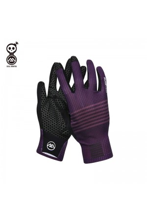 purple cycling gloves