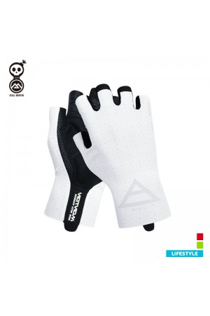 2019 White Cycling Gloves Cobrand Lifestyle Wind