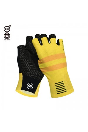 yellow cycling gloves