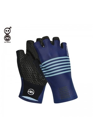 blue cycling gloves