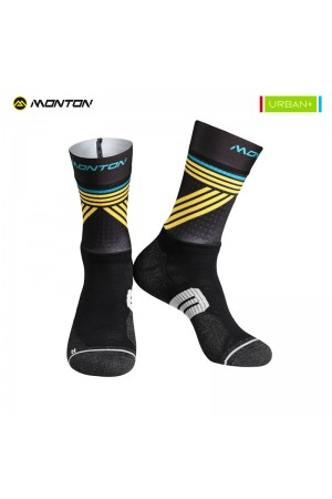 2018 Tall Mens Cycling Socks Urban Graffio 2 Black Yellow