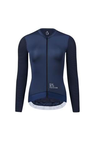 blue cycling jersey long sleeve