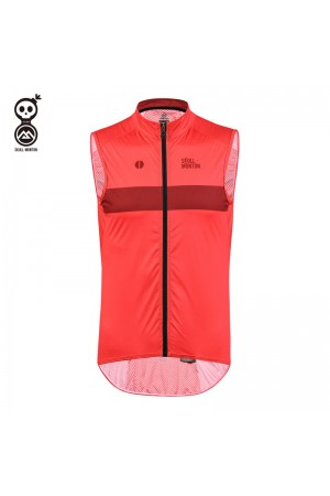 red cycling gilet