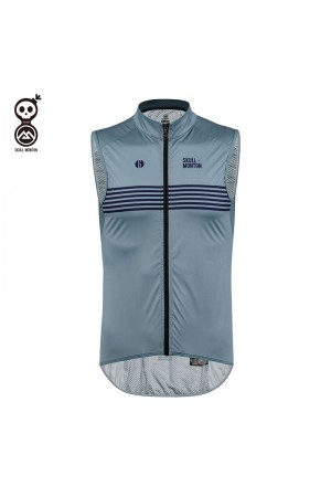 blue cycling gilet