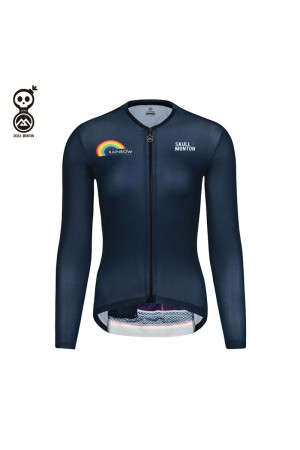 blue long sleeve cycling jersey