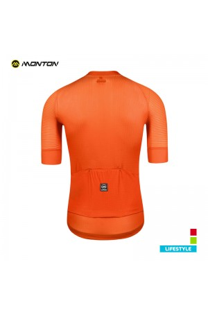 fluorescent orange cycling jersey