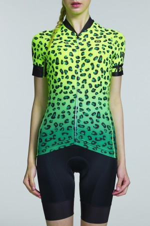 2016 Womens Fluorescent Cycling Jersey Cheetah Yellow Green