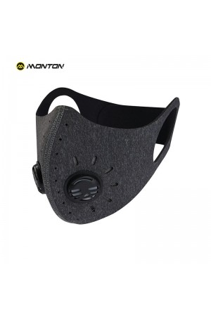 Gray Cycling Face Mask with KN95 Filter and Valve