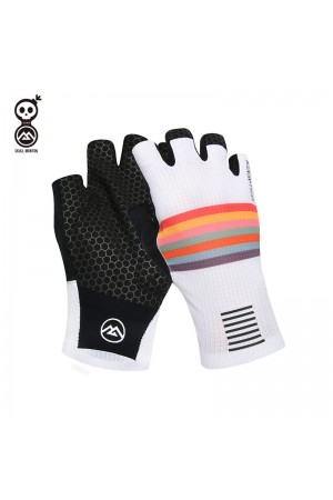 2020 SKULL MONTON Half Finger Cycling Gloves Holiday White