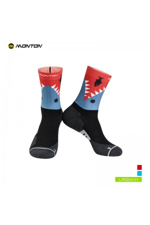 2019 Urban Cycling Socks Funnyshark III Gray Red