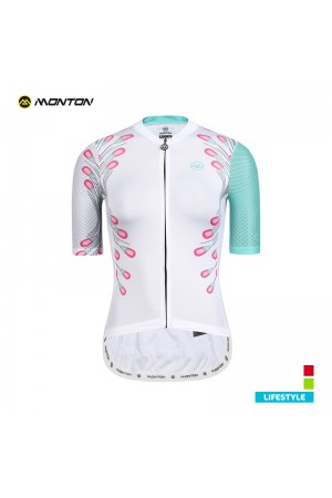 2019 Lifestyle Womens Short Sleeve Cycling Jersey Peacock Feathers White