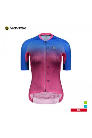 2019 PRO Womens Short Sleeve Cycling Jersey Neon Red Blue