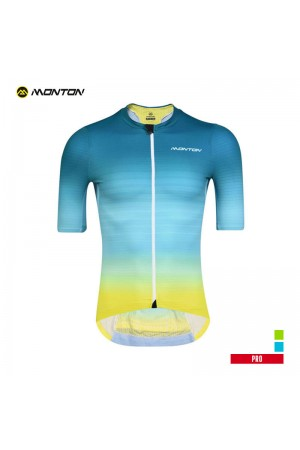 2019 PRO Mens Short Sleeve Cycling Jersey Saiun Blue Yellow