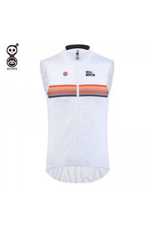 SKULL MONTON Cycling Gilet Holiday White - S M L