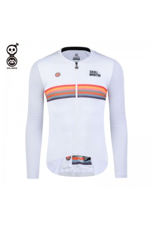 Skull Monton Mens Long Sleeve Cycling Jersey Holiday White