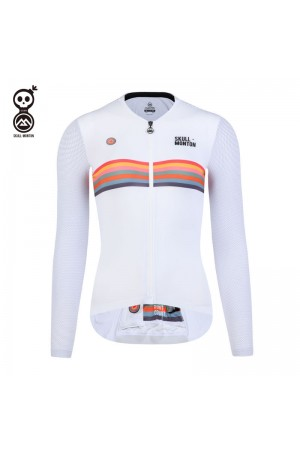 Skull Monton Womens Long Sleeve Cycling Jersey Holiday White