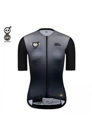 Womens Short Sleeve Cycling Jersey Skull Monton CAT Black