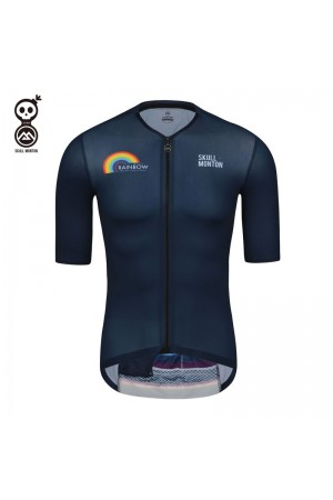2020 Skull Monton Short Sleeve Cycling Jersey Mens Rainbow Blue