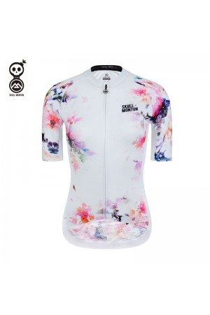 SKULL MONTON Womens Cycling Jersey InkFlower White