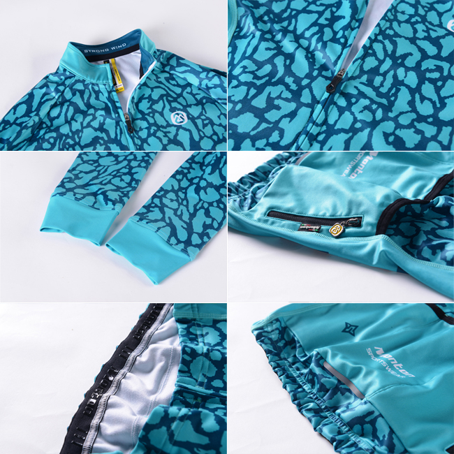 2015 Womens Long Sleeve Cycle Jersey Veix Turquoise Green Details