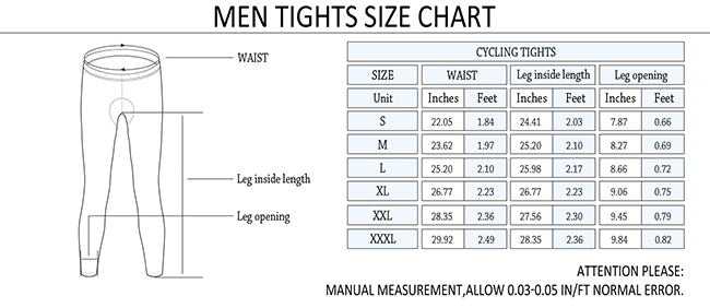 2015 Pro Plus Gaddi Bike Tights Size Chart