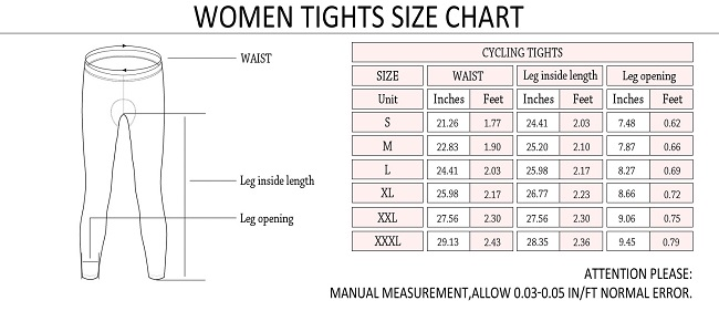 Monton 2015 Women's Cycling Tights Sophie Size Chart