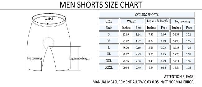 Monton 2015 Cycling Shorts Size Chart