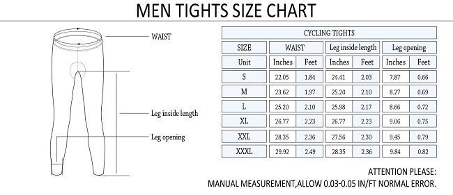 Monton 2015 Men's Cycling Tights Size Chart