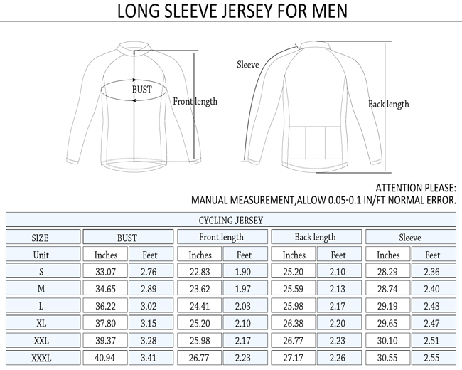 2015 Mens Cycling Fleece Thermal Jersey Long Sleeve Tempest Greenish Orchid Size Chart