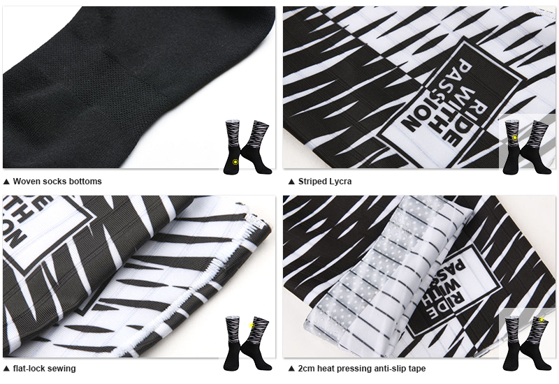Black and white cycling socks