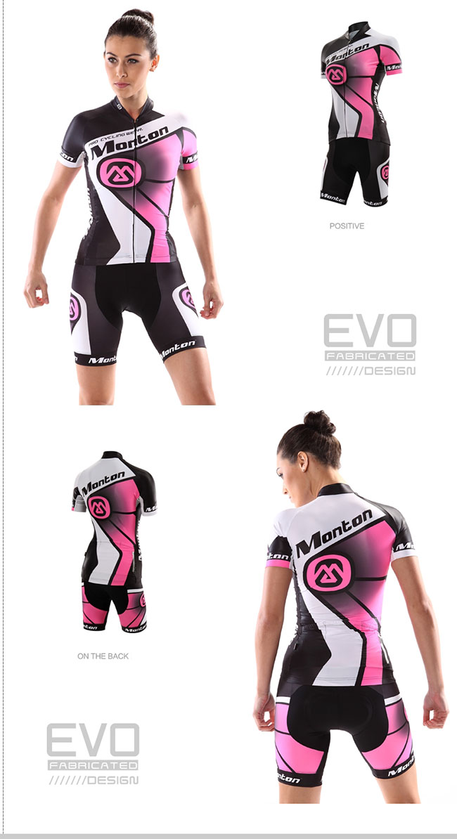 2014 Womens Cycling Jersey and Shorts Set Rocking Neon Red on model show dee6b5d46