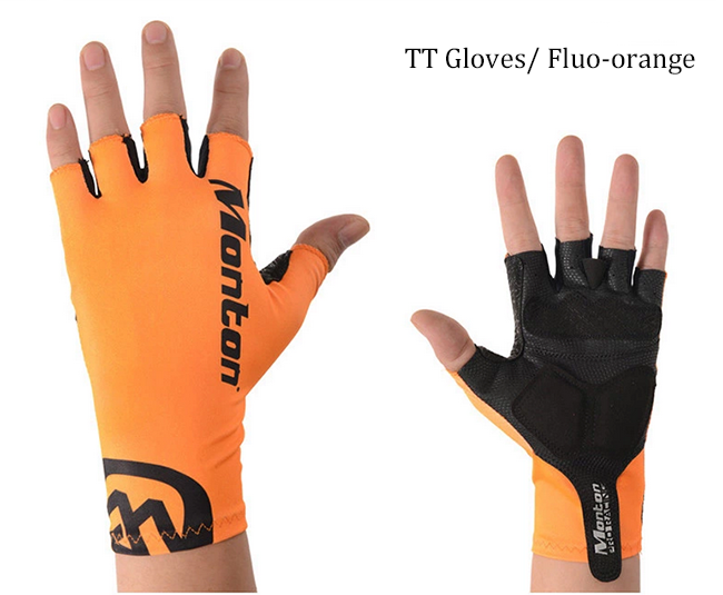 Monton Padded Fluorescent Orange Cycling Gloves TT