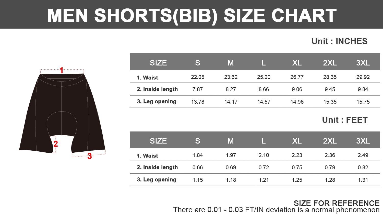 Willys bib shorts size chart