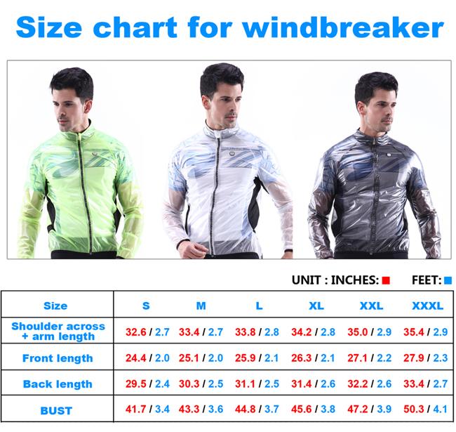 Windbreaker Size Chart