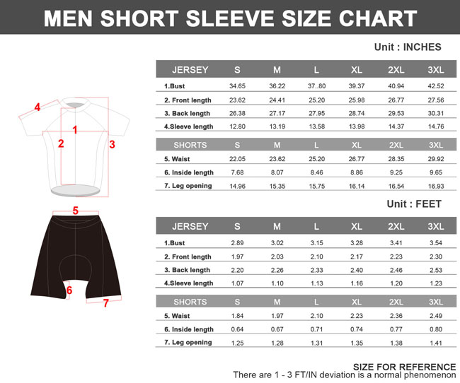 2014 Mens Cycling Jersey Clearance Sale Size Chart