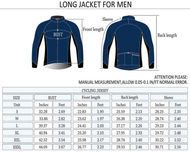 2015 Mens Winter Thermal Fleece Cycling Jersey Aspiration Blue Size Chart