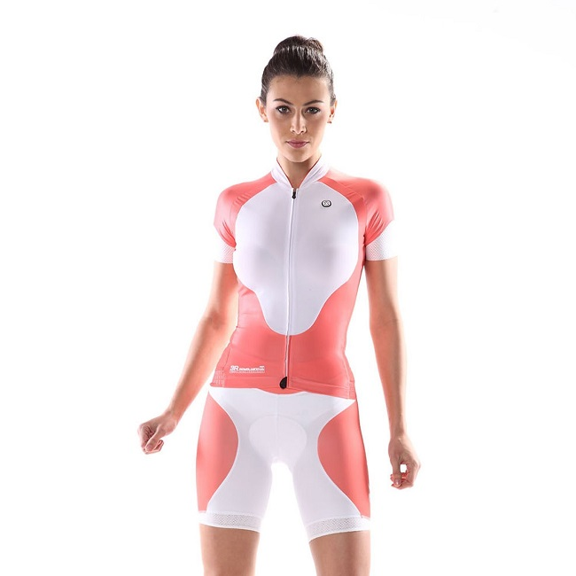 2014 Custom Cycling Jersey Womens Anna Coral Red on model