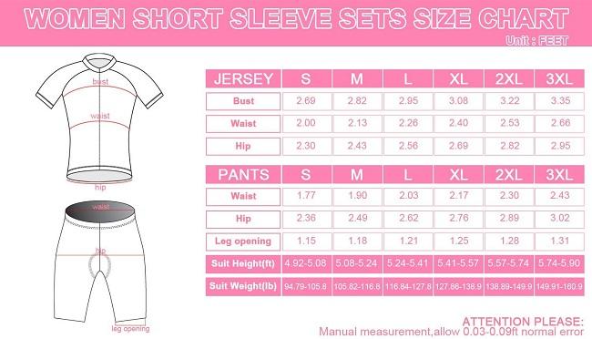 2014 Womens Pro Cycling Jersey Anna Purple Size Chart
