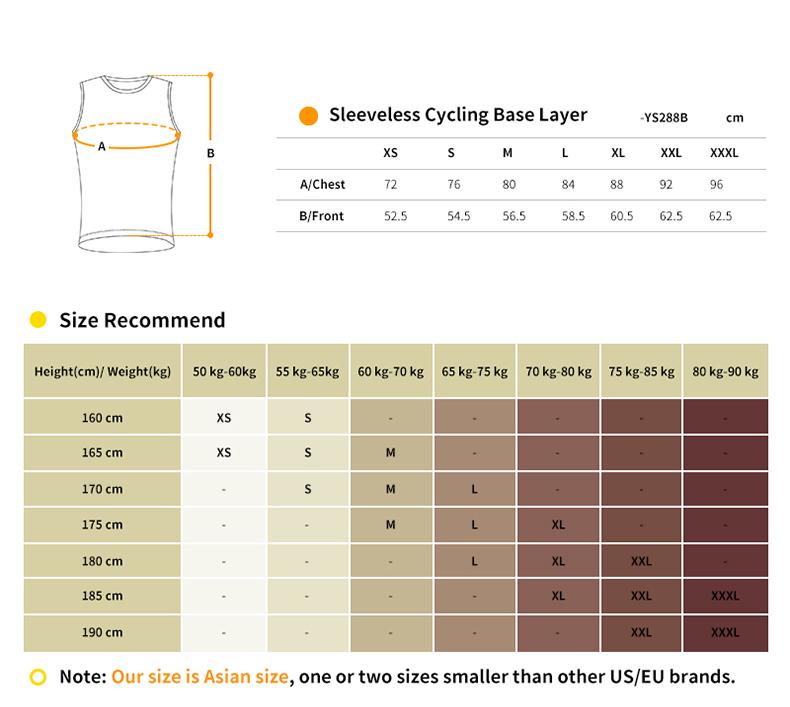 base layer size chart