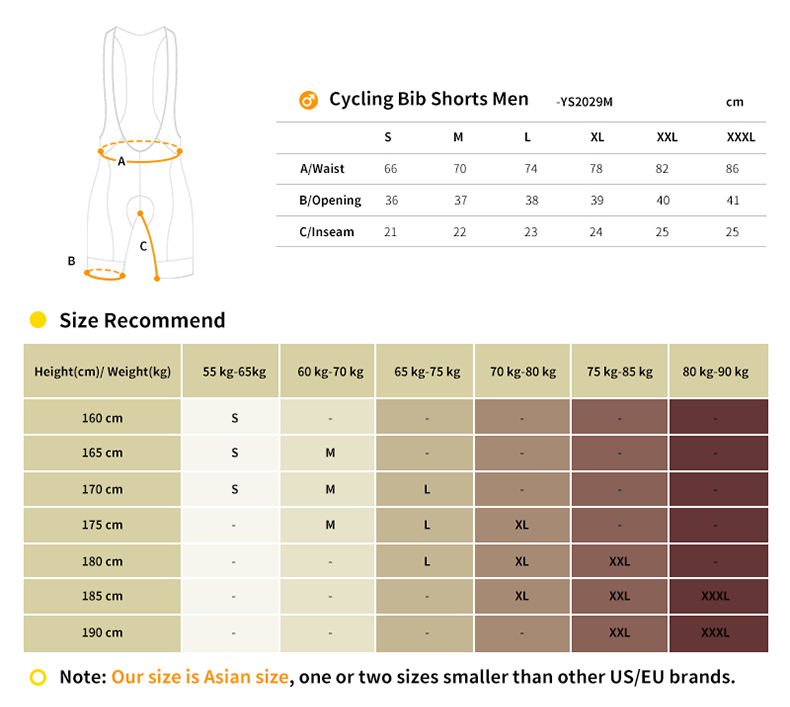 cycling bib shorts YS2029M size chart