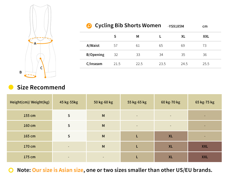 womens cycling bib shorts YS9187M size chart