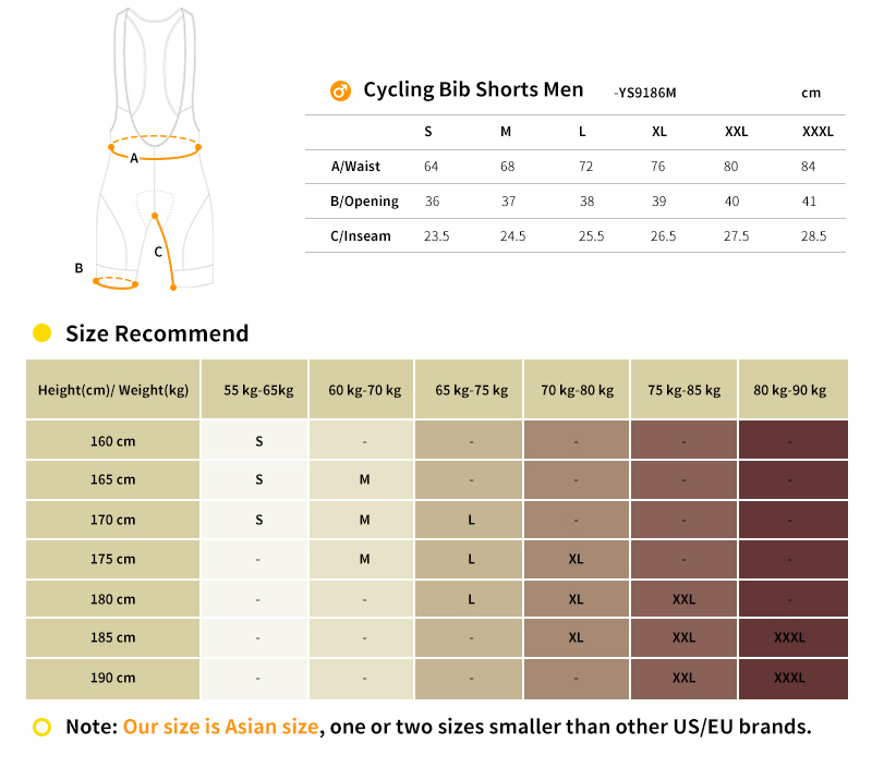 cycling bib shorts YS9186M size chart