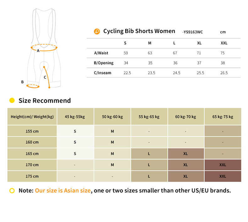 cycling bib shorts size chart