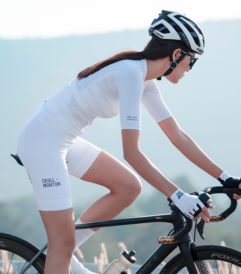 white bib shorts cycling