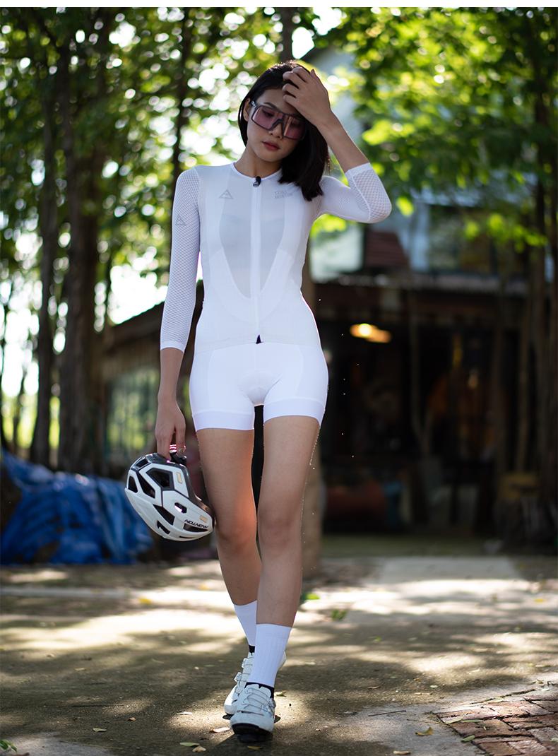 white cycling bib shorts women