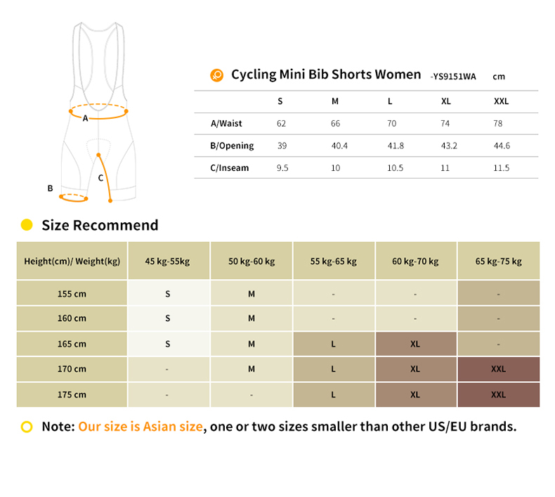 womens cycling bibs YS9151WA size chart