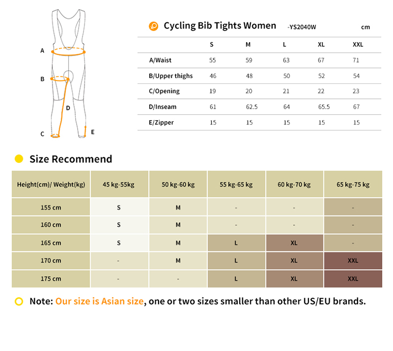 womens cycling bib tights size chart