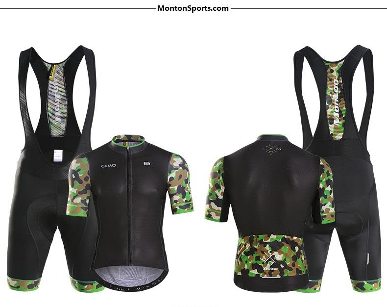 MONTON 2016 Men's Cycling Kits Jersey Bib Shorts Set CAMO Blue