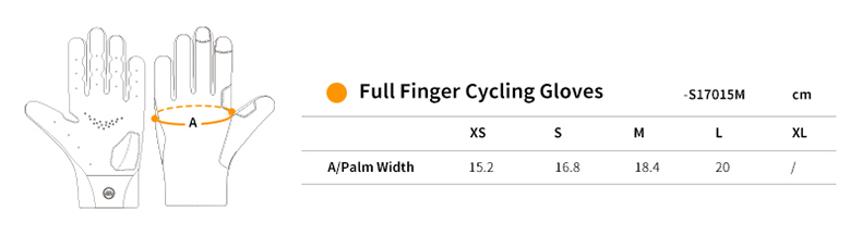 full finger bicycle gloves size chart